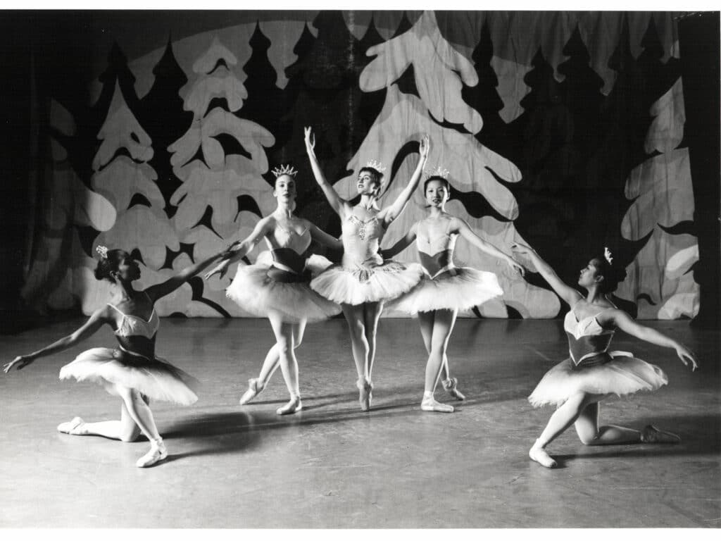 The Nutcracker Snowflakes in studio photo shoot, left to right: Candace Veecock, Clea Iveson, Jane Youngberg, Leticia Pang & Gigi Uson.